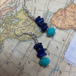 Genuine lapis earrings Czech turquoise glass